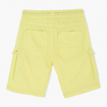 Woven Shorts with Flap Pockets and Elasticised Waistband