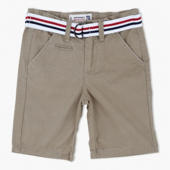 Shorts with Striped Belt