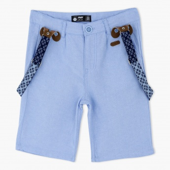 Textured Shorts with Suspenders