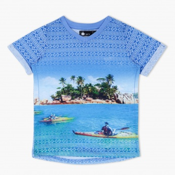 Printed T-Shirt with Round Neck and Short Sleeves