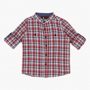 Chequered Mandarin Neck Shirt with Long Sleeves and Tabs