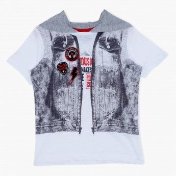 Printed Short Sleeves Hooded T-Shirt
