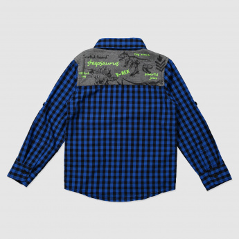 Chequered Long Sleeves Shirt with Applique Work
