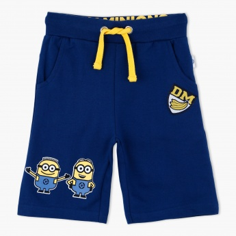 Minion Print Shorts with Elasticised Waistband and Drawstring