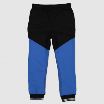 Knit Full Length Jog Pants with Contrasting Panels