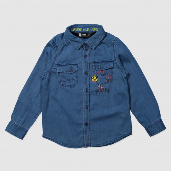 Long Sleeves Denim Shirt with Flap Pockets