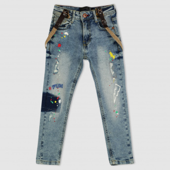 Printed Full Length Jeans with Suspenders