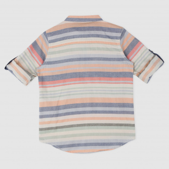 Striped Mandarin Collared Shirt with Short Placket