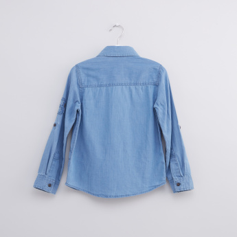 Printed Denim Shirt with Long Sleeves and Complete Placket
