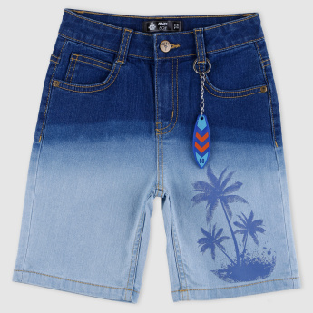 Printed Denim Shorts with Button Closure