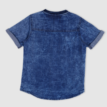 Mandarin Collar Short Sleeves Denim Shirt