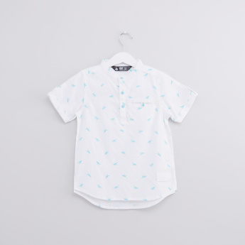 Printed Mandarin Collar Short Sleeves Shirt