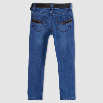 Full Length Jeans with Belt and Pocket Detail