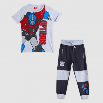 Transformers Print T-Shirt and Jog Pants Set