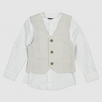 Long Sleeves Shirt with Waistcoat and Trousers Set