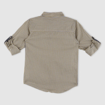 Chequered Mandarin Collar Shirt