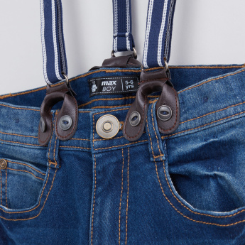 Full Length Jeans with Button Closure and Suspenders