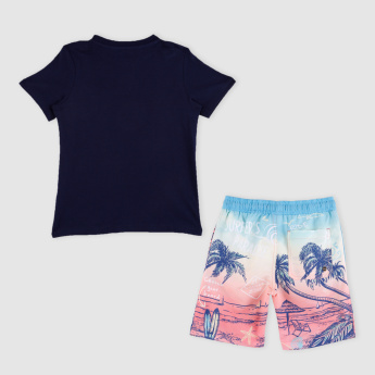 Printed Round Neck Short Sleeves T-Shirt with Shorts
