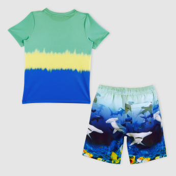 Printed Short Sleeves T-Shirt with Shorts