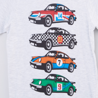 Cars Printed Round Neck Short Sleeves T-Shirt