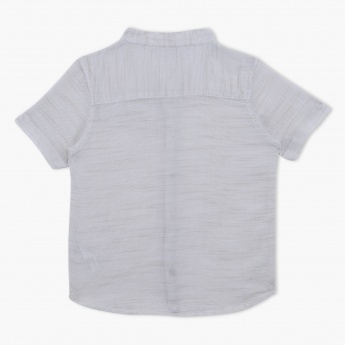 Short Sleeves Mandarin Collar Shirt