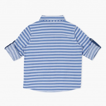 Striped Roll Up Sleeves Shirt
