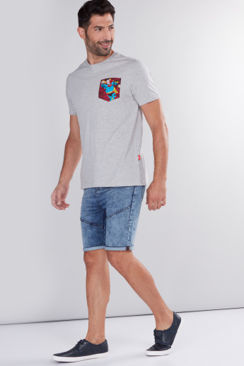 Superman Printed Round Neck T-Shirt with Pocket Detail