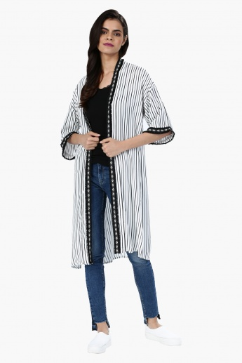 Striped Midi Shrug with Fringed Border