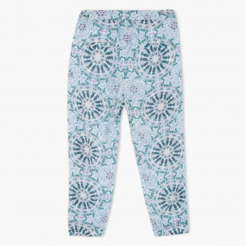 Printed Harem Pants with Piping