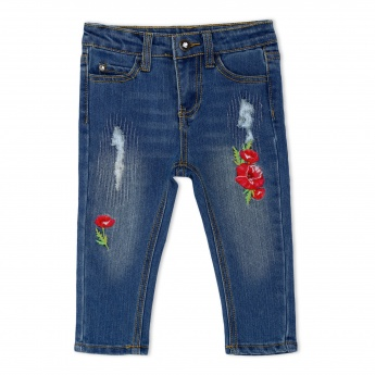 Embroidered Distressed Denim Capris