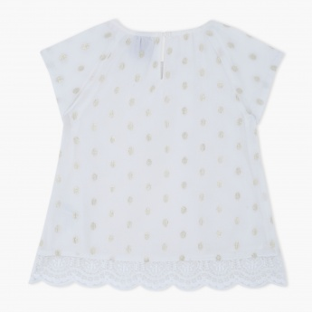 Polka Dots Top with Round Neck and Short Sleeves