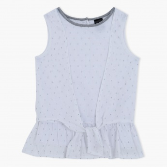 Printed Sleeveless Woven Top with Front Tie Ups