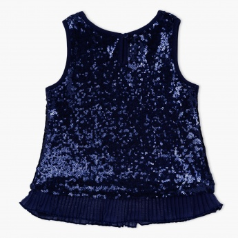 Sequin Embellished Woven Top with Frill Hem