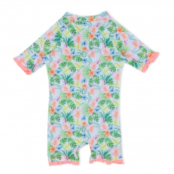 Floral Print Jumpsuit with Frill Trims