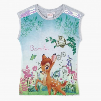 Bambi Printed Round Neck Top