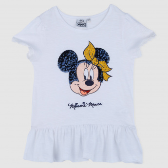Sequin Embellished Minnie Mouse Top with Ruffled Hem