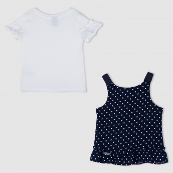 Round Neck T-Shirt with Dress Set