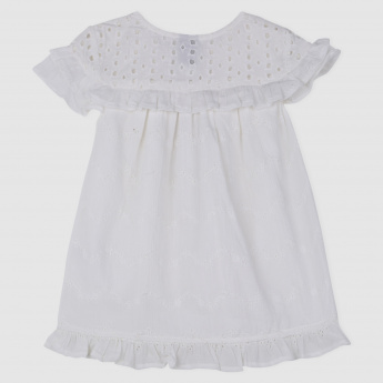 Schiffli Woven Top with Frills