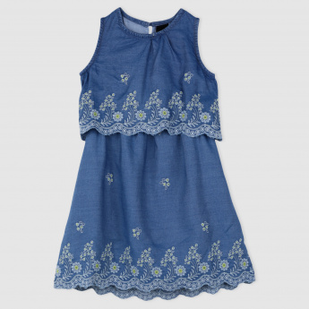 Sleeveless Dress with Embroidered Detailing