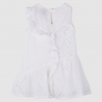 Embroidered Schiffli Dress with Ruffle