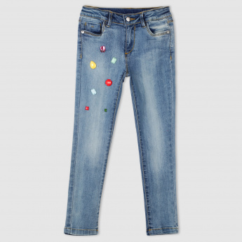 Embellished Full Length Jeans with Button Closure