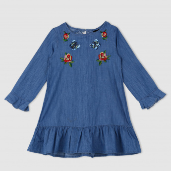 Denim Dress with Long Sleeves and Ruffle Detail