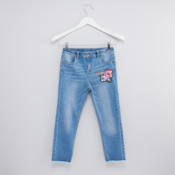 Embroidered Full Length Jeans with Button Closure and Pocket Detail