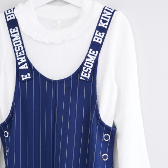 Striped Dungarees with Long Sleeves T-Shirt