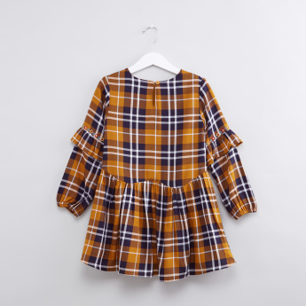 Chequered Round Neck Long Sleeves Dress