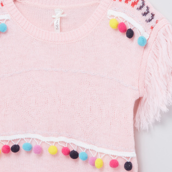 Pom-Pom Detail Round Neck Sweater
