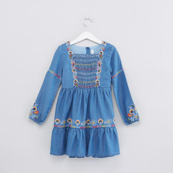 Embroidered Denim Long Sleeves Dress