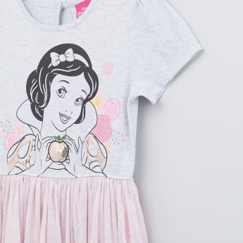 Snow White Printed Round Neck Dress