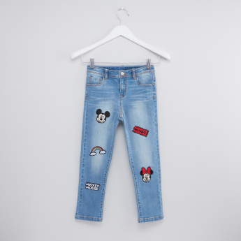 Mickey and Minnie Mouse Full Length Jeans with Applique Detail