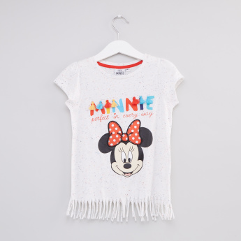 Minnie Mouse Printed Fringed Top
